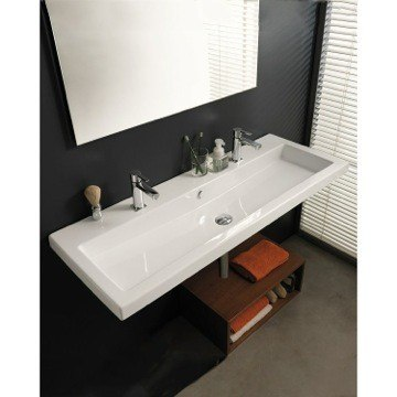 Tecla CAN05011B Cangas 47 Inch Rectangular White Ceramic Wall Mounted or Built-In Sink