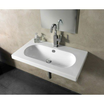 Tecla EDW2011 Edo Wide 32 x 18 Inch Rectangular White Ceramic Wall Mounted or Built-In Sink