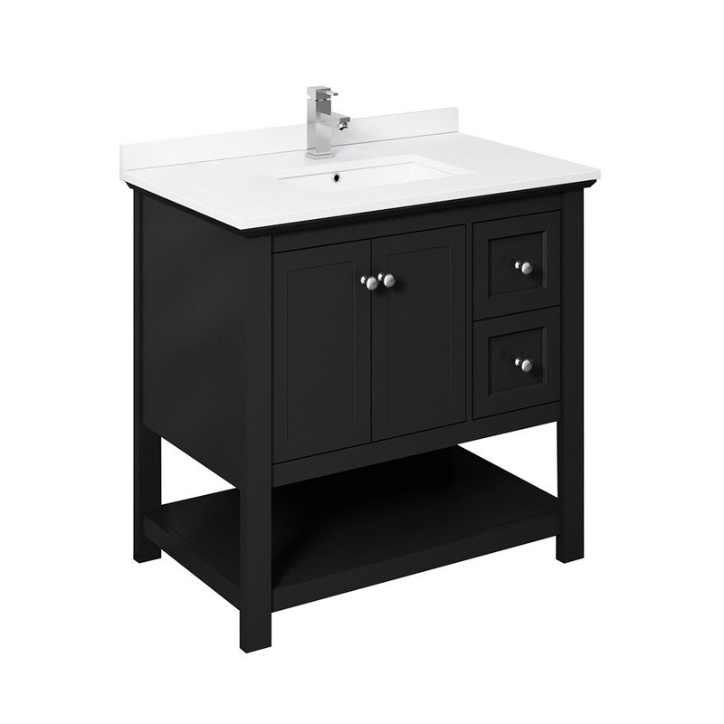 Fresca Fcb2336bl Cwh U Manchester 36 Inch Black Traditional Bathroom Cabinet With Top And Sink