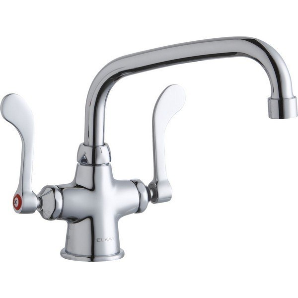 Elkay LK500AT08T4 Single Hole with Concealed Deck Mount Faucet, 8 Inch Arc Tube Spout and 4 Inch Handles