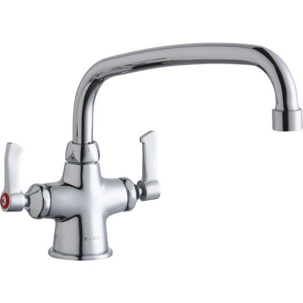 Elkay LK500AT10L2 Single Hole with Concealed Deck Mount Faucet, 10 Inch Arc Tube Spout and 2 Inch Handles