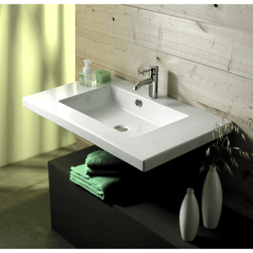 TECLA MAR02011 MARS 28 X 21 INCH RECTANGULAR WHITE CERAMIC WALL MOUNTED OR BUILT-IN SINK