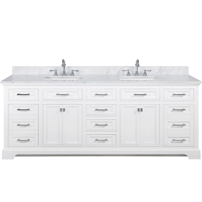 Design Element Ml 84 Wt Milano 84 Inch Double Sink Vanity In White