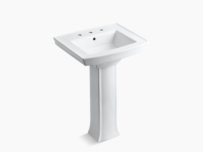 KOHLER K-2359-8 24 INCH WIDESPREAD VITREOUS CHINA PEDESTAL BATHROOM SINK WITH 3 PRE DRILLED FAUCET HOLES FROM THE ARCHER COLLECTION