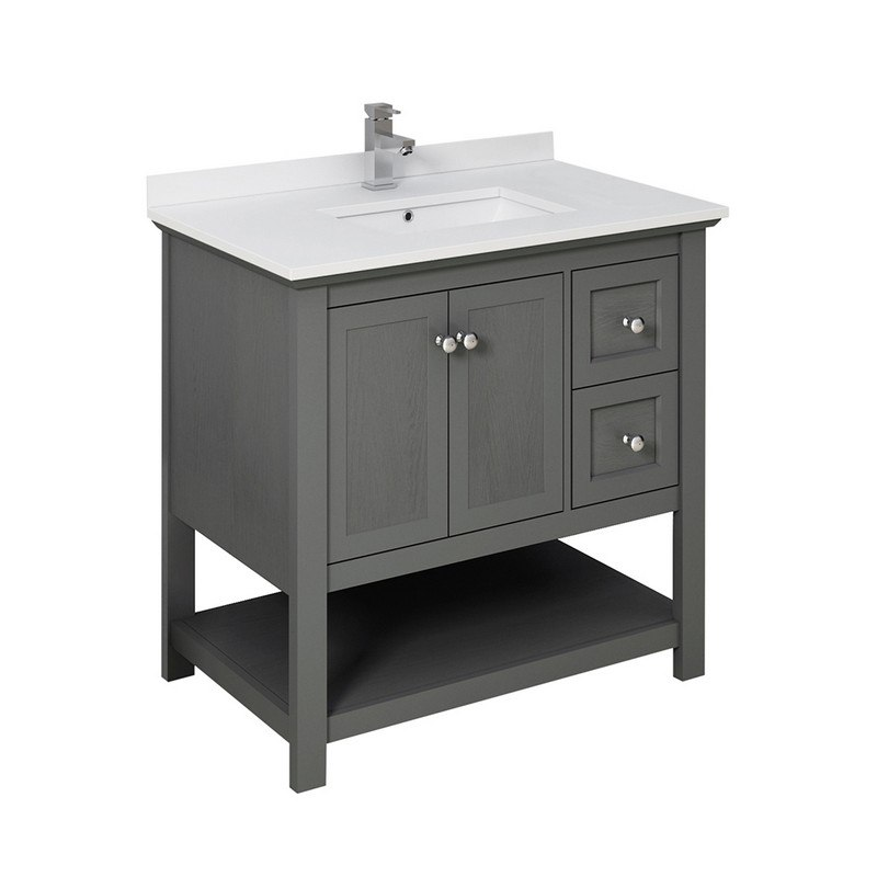 Fresca Fcb2336vg Cwh U Manchester Regal 36 Inch Gray Wood Veneer Traditional Bathroom Cabinet With Top And Sink