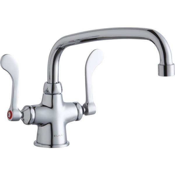 Elkay LK500AT10T4 Single Hole with Concealed Deck Mount Faucet, 10 Inch Arc Tube Spout and 4 Inch Handles