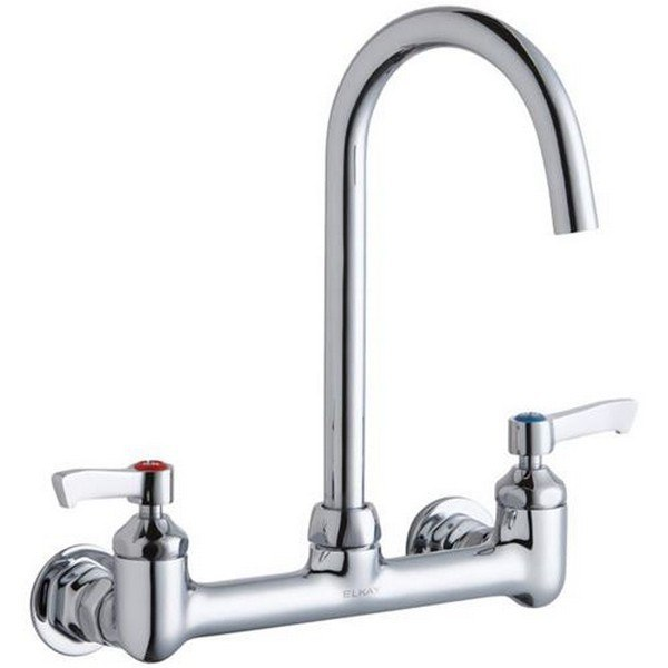 Elkay LK940LGN05L2H Wall Mount Faucet with 5 Inch Gooseneck Spout and 2 Inch Handles, Offset Inlet