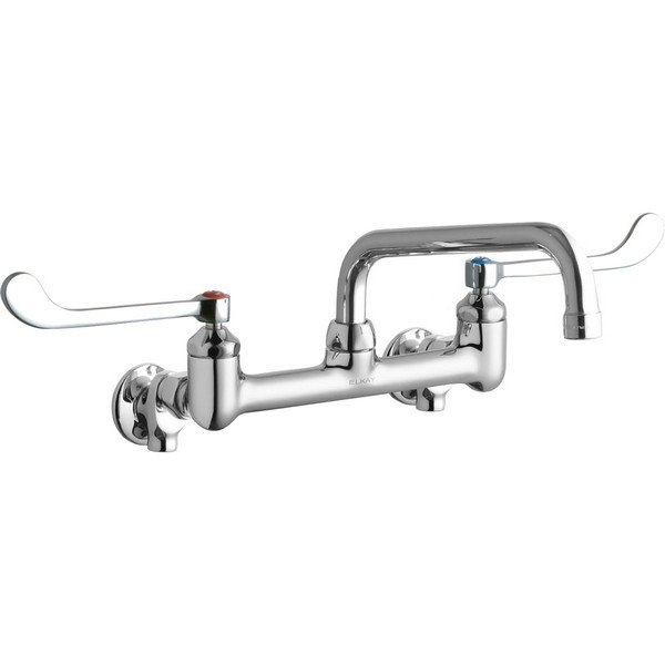 8 Wall Mount Centerset Elkay LK940AT10T6H Chrome Finish Solid Brass Faucet with 10 Arc Tube Spout and 6 Wristblade Handle