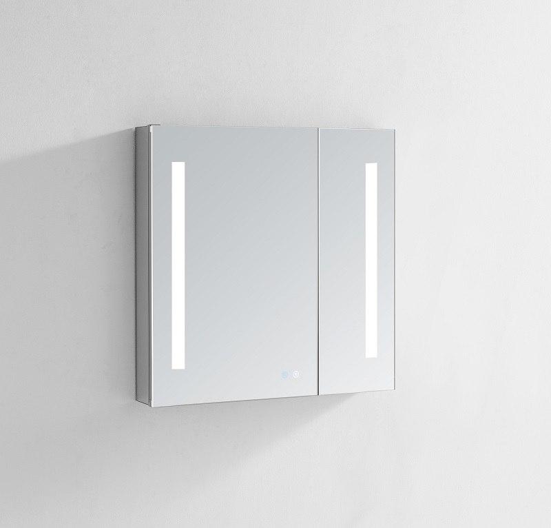 AQUADOM SR-3630 SIGNATURE ROYALE 36X30 LED LIGHTED MIRROR GLASS MEDICINE CABINET FOR BATHROOM, 3D COLOR TEMPERATURE LIGHT, CLOCK, DEFOGGER, DIMMER