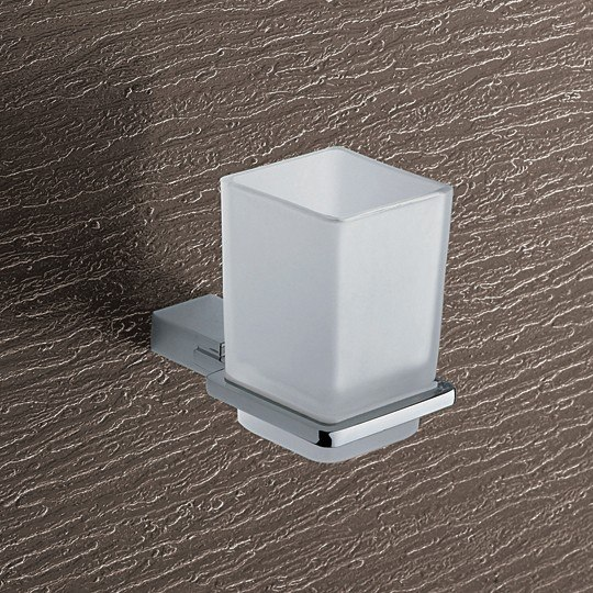GEDY 3810-13 KANSAS WALL MOUNTED FROSTED GLASS TOOTHBRUSH HOLDER WITH CHROME MOUNTING