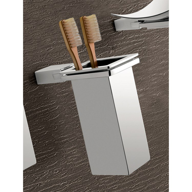 GEDY 3810-01-13 KANSAS WALL MOUNTED SQUARE POLISHED CHROME TOOTHBRUSH HOLDER