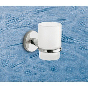 GEDY 4210-13 VERMONT WALL MOUNTED FROSTED GLASS TOOTHBRUSH HOLDER WITH CHROME MOUNTING