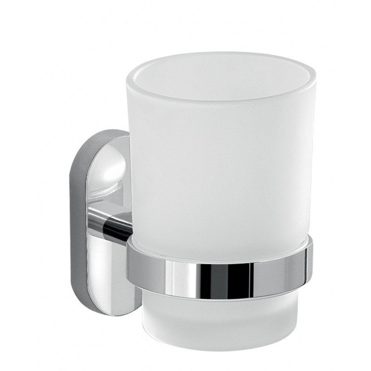GEDY 5310-13 FEBO GLASS TOOTHBRUSH HOLDER WITH CHROME MOUNTING
