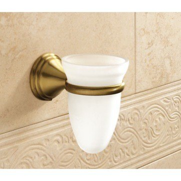 GEDY 7510-44 ROMANCE WALL MOUNTED FROSTED GLASS TOOTHBRUSH HOLDER WITH BRONZE MOUNTING