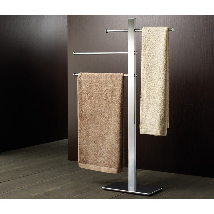 GEDY 7631-13 BRIDGE 16 INCH SQUARE CHROMED BRASS TOWEL STAND