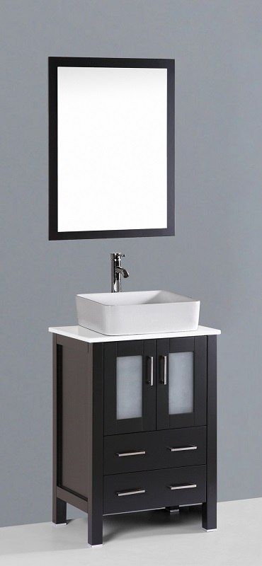 Bosconi AB124RC 24 Inch Contemporary Single Vanity in Espresso Finish