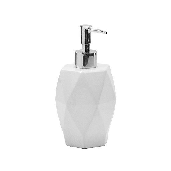 GEDY DA80-02 DALIA ROUND DIAMOND SHAPED WHITE CERAMIC SOAP DISPENSER