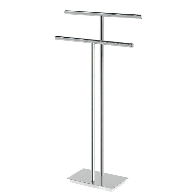GEDY D031-13 BERMUDA 16 INCH FLOOR STANDING CHROMED BRASS AND STEEL TWO RAIL TOWEL STAND