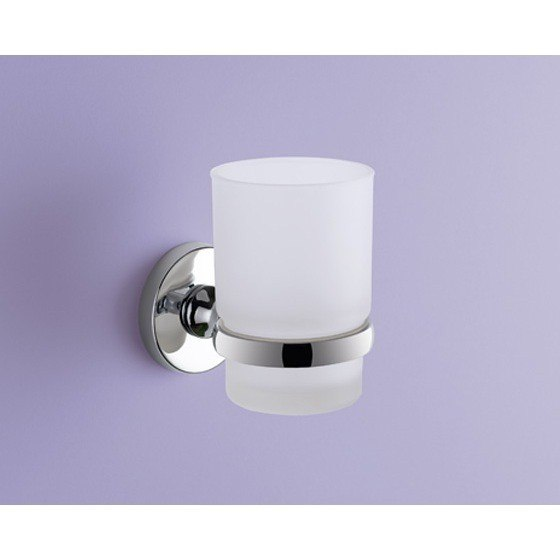 GEDY FE10-13 FELCE WALL MOUNTED FROSTED GLASS TOOTHBRUSH HOLDER WITH CHROME MOUNTING