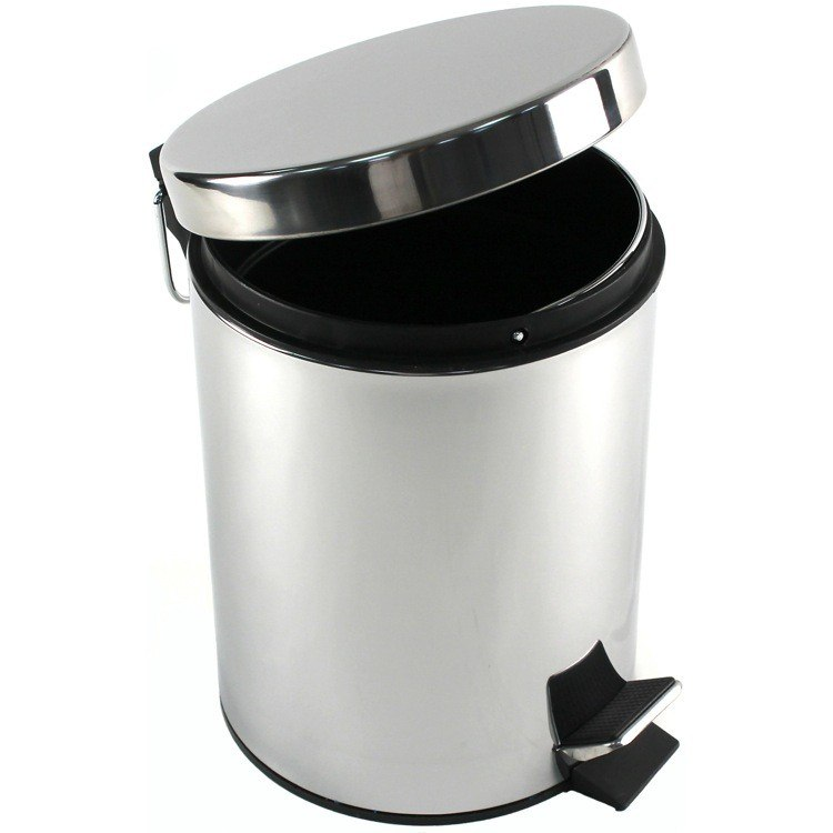 GEDY 2709-13 ARGENTA ROUND POLISHED CHROME WASTE BIN WITH PEDAL