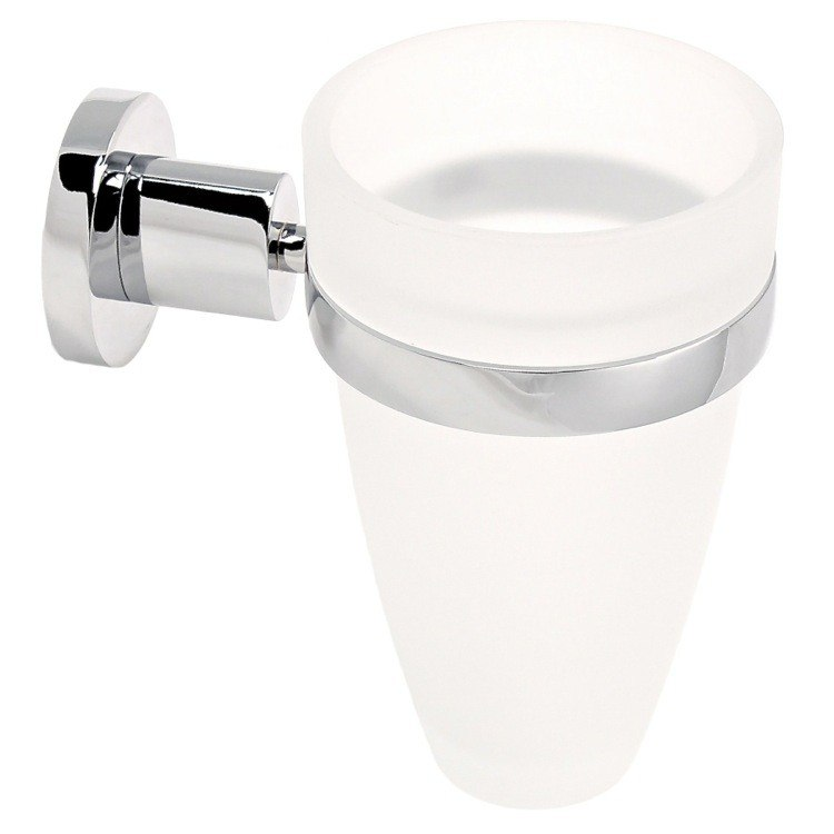 GEDY 5110-13 DEMETRA WALL MOUNTED FROSTED GLASS TOOTHBRUSH HOLDER WITH CHROME MOUNTING