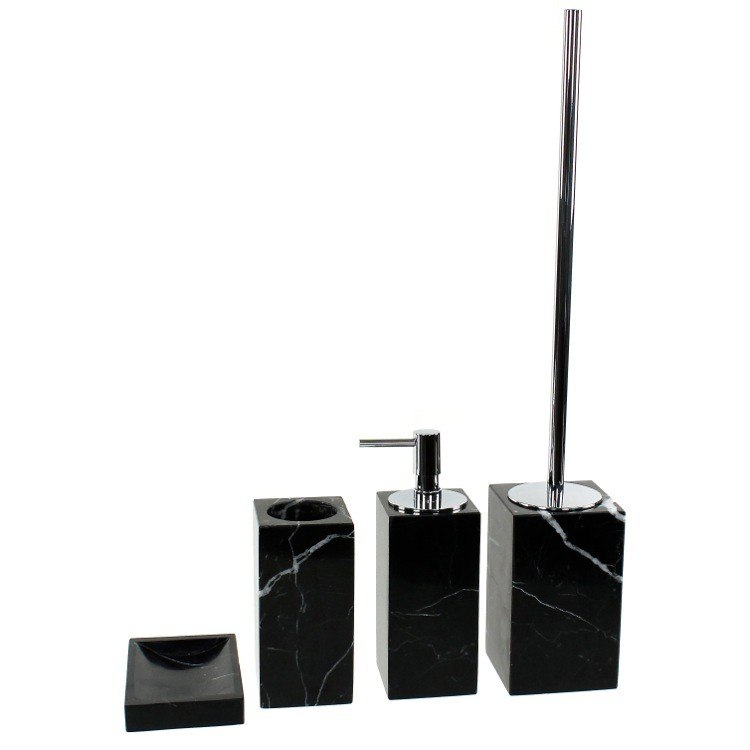 GEDY AN100-14 ANTHURIUM BLACK MARBLE BATHROOM ACCESSORY SET IN 4 PIECES