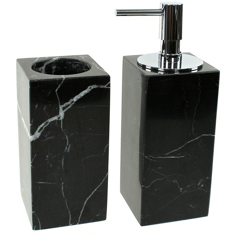 GEDY AN500-14 ANTHURIUM BLACK 2 PIECE MARBLE BATHROOM ACCESSORY SET