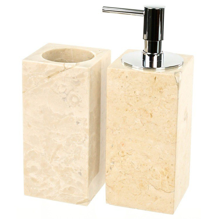 GEDY EU500-03 EUCALIPTO 2 PIECE NATURAL SAND BATHROOM ACCESSORY SET