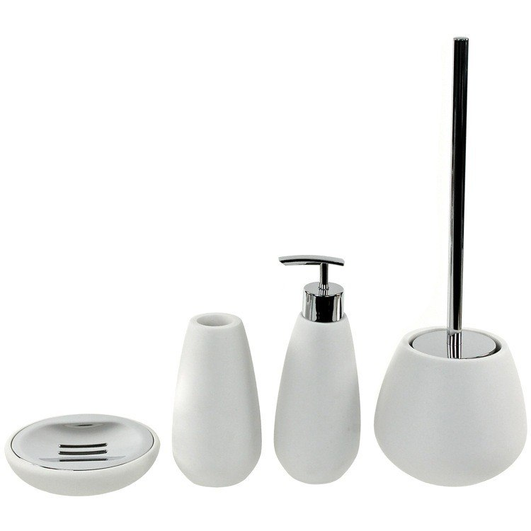 GEDY OP180-02 OPUNTIA 4 PIECE WHITE STONE BATHROOM ACCESSORY SET GEDY