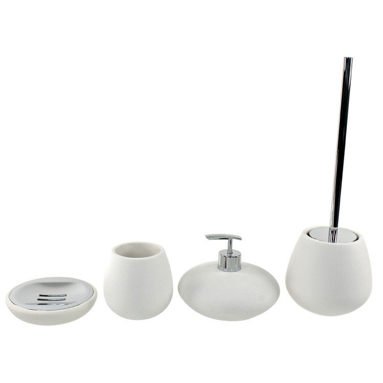 GEDY OP181-02 OPUNTIA ROUND 4 PIECE WHITE BATHROOM ACCESSORY SET
