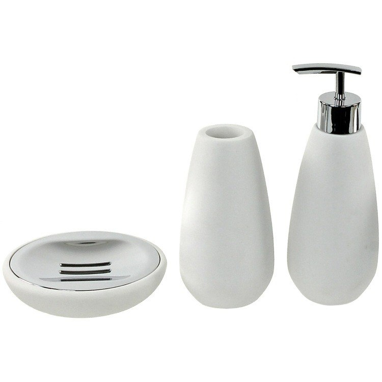GEDY OP280-02 OPUNTIA 3 PIECE WHITE STONE BATHROOM ACCESSORY SET GEDY