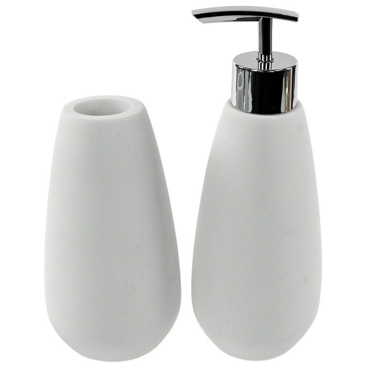 GEDY OP580-02 OPUNTIA 2 PIECE WHITE STONE BATHROOM ACCESSORY SET GEDY