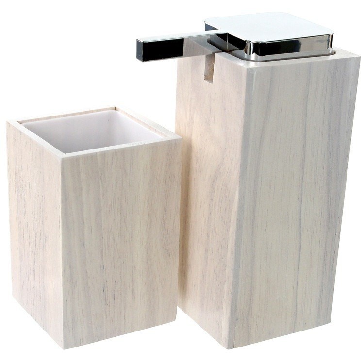 GEDY PA580-02 PAPIRO WOODEN 2 PIECE WHITE BATHROOM ACCESSORY SET