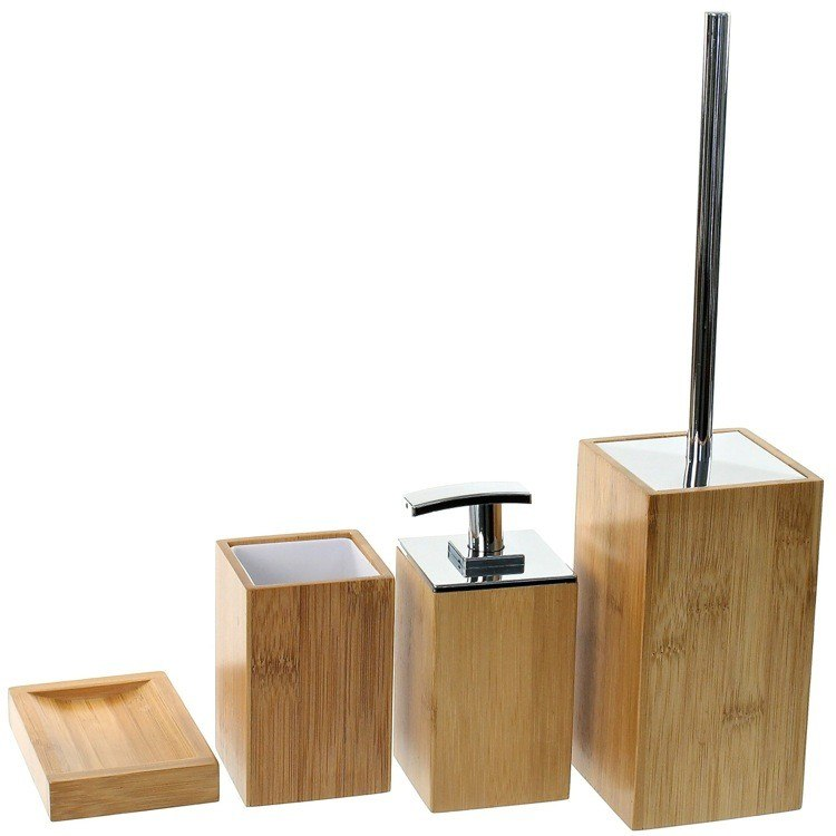 GEDY PO181-35 POTUS WOODEN 4 PIECE BAMBOO BATHROOM ACCESSORY SET