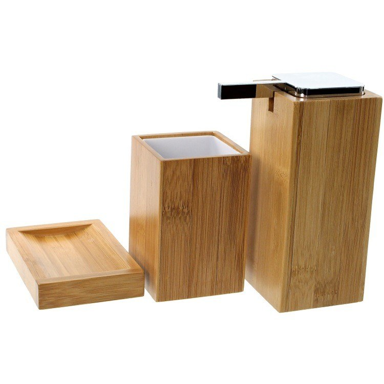 GEDY PO280-35 POTUS WOODEN 3 PIECE BAMBOO BATHROOM ACCESSORY SET