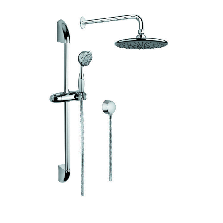 GEDY SUP1001 SUPERINOX CHROME SHOWER SYSTEM WITH HAND SHOWER WITH SLIDING RAIL, AND WATER CONNECTION