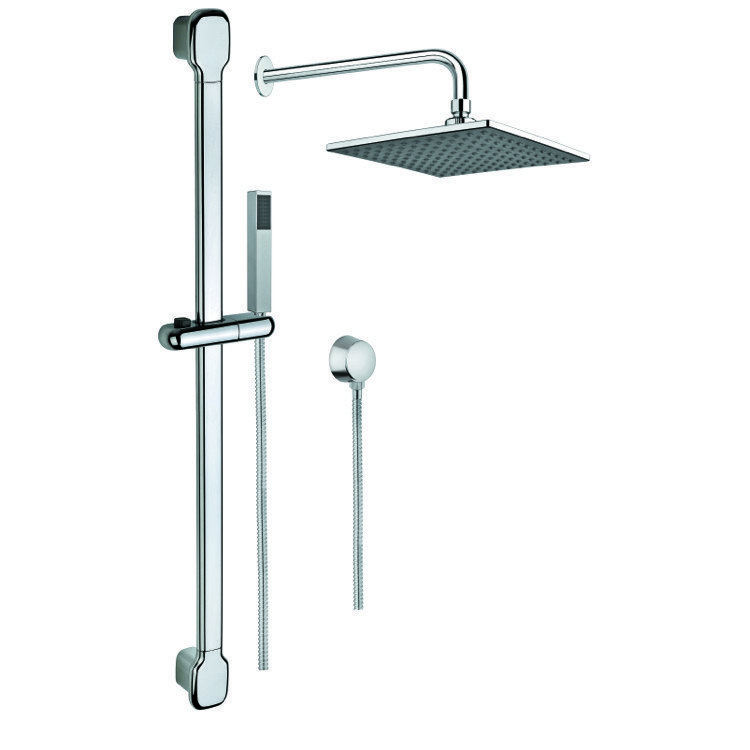 GEDY SUP1006 SUPERINOX SHOWER SYSTEM WITH HAND SHOWER WITH SLIDING RAIL, SHOWERHEAD, AND WATER CONNECTION IN CHROME