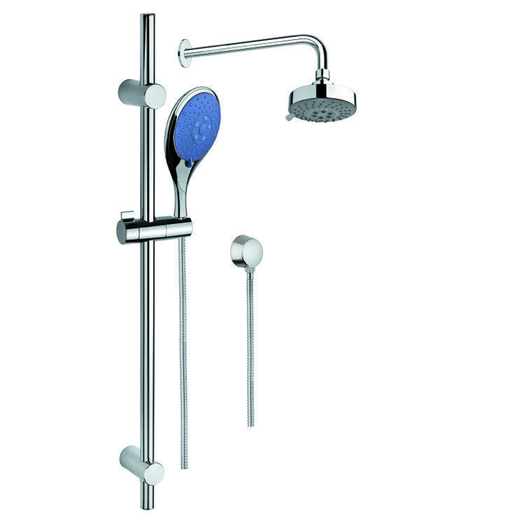 GEDY SUP1011 SUPERINOX SHOWER SYSTEM WITH CHROME HAND SHOWER WITH SLIDING RAIL, SHOWERHEAD, AND WATER CONNECTION