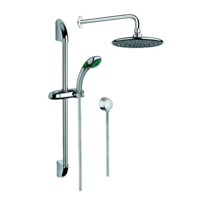GEDY SUP1014 SUPERINOX SHOWER SYSTEM IN CHROME WITH HAND SHOWER WITH SLIDING RAIL, SHOWERHEAD, AND WATER CONNECTION