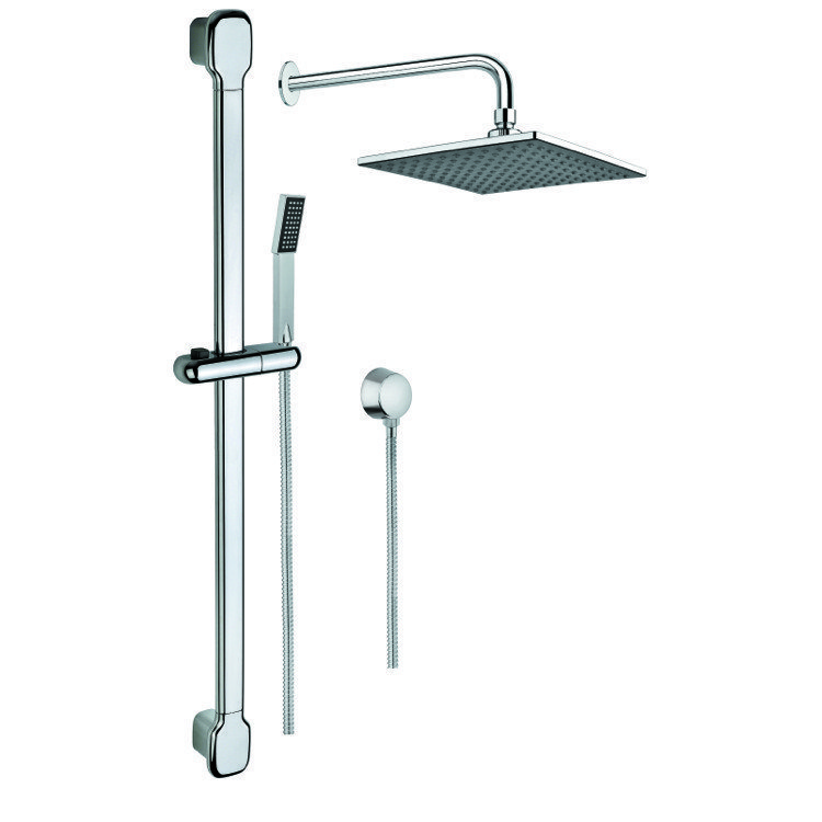 GEDY SUP1015 SUPERINOX CHROME SHOWER SYSTEM WITH SHOWERHEAD, HAND SHOWER WITH SLIDING RAIL, AND WATER CONNECTION