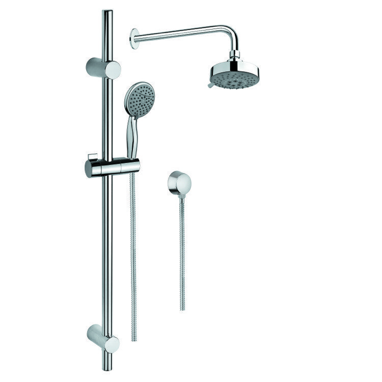 GEDY SUP1018 SUPERINOX CHROME SHOWER SYSTEM WITH HAND SHOWER AND SLIDING RAIL, SHOWERHEAD, AND WATER CONNECTION