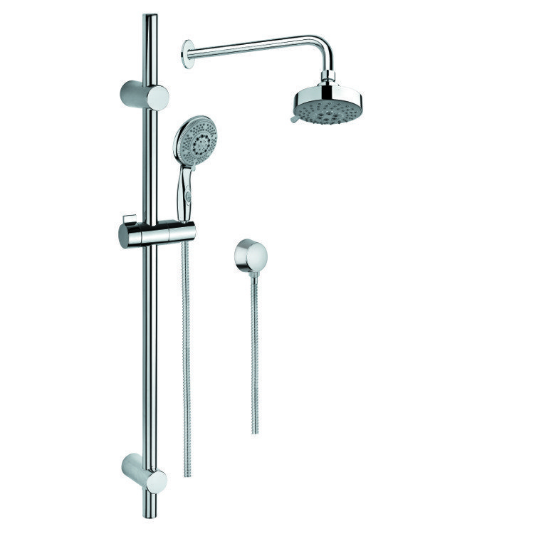 GEDY SUP1023 SUPERINOX CHROME SHOWER SOLUTION WITH HAND SHOWER WITH SLIDING RAIL, SHOWERHEAD, AND WATER CONNECTION