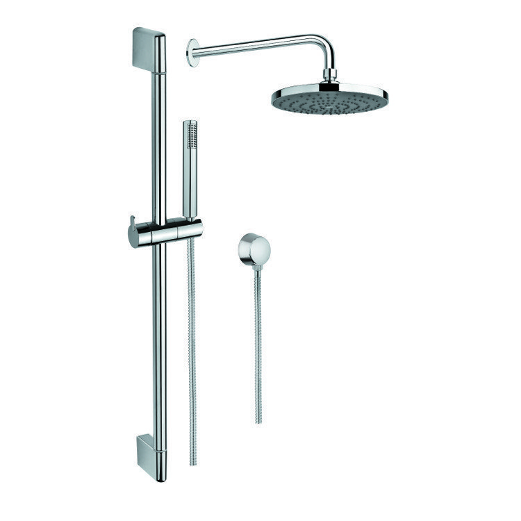 Gedy Sup1024 Superinox Chrome Shower System With Hand Shower Sliding Rail Showerhead And Water Connection
