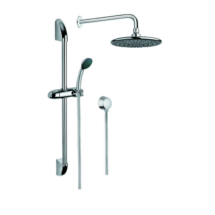 GEDY SUP1030 SUPERINOX CHROME SHOWER SYSTEM WITH HAND SHOWER AND SLIDING RAIL, SHOWERHEAD, AND WATER CONNECTION