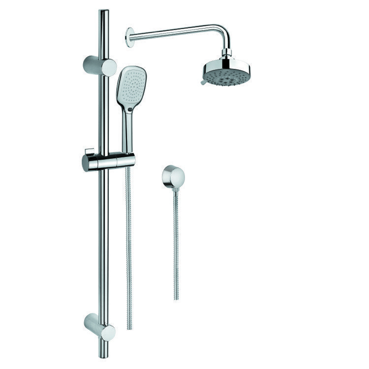 GEDY SUP1031 SUPERINOX CHROME SHOWER SYSTEM WITH HAND SHOWER, SLIDING RAIL, SHOWERHEAD, AND WATER CONNECTION