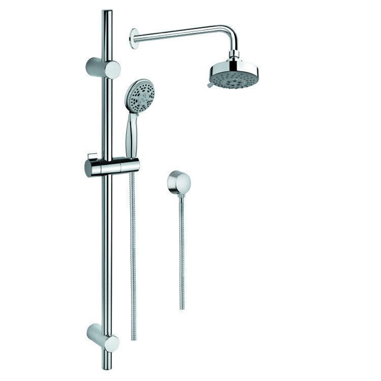GEDY SUP1034 SUPERINOX CHROME SHOWER SOLUTION WITH HAND SHOWER AND SLIDING RAIL, SHOWERHEAD, AND WATER CONNECTION