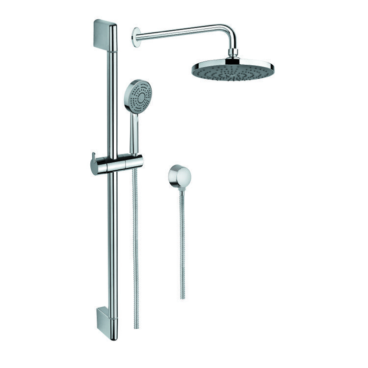 GEDY SUP1037 SUPERINOX POLISHED CHROME SHOWER SYSTEM WITH PERSONAL HAND SHOWER AND SLIDING RAIL, SHOWERHEAD, AND WATER CONNECTION