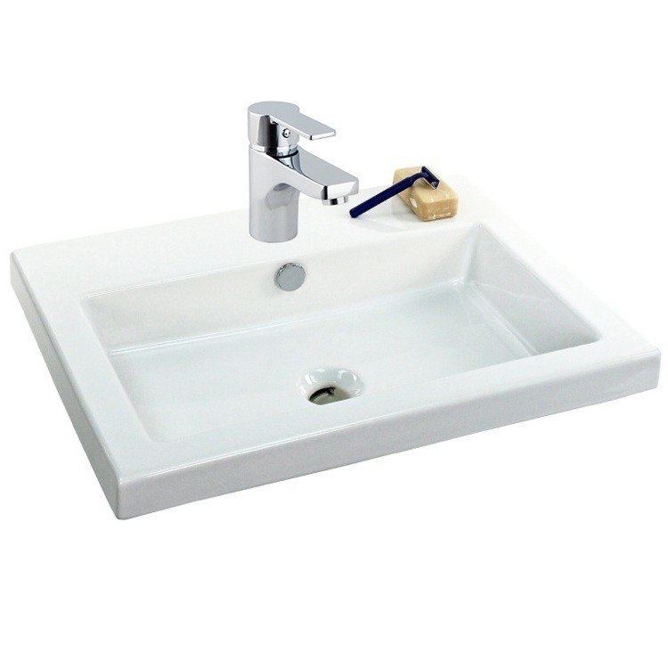 Tecla FAU508-One Hole Fausta 24 Inch White Ceramic Bathroom Sink and Brass Faucet Combo