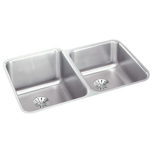 ELKAY ELUH3120RPD STAINLESS STEEL 31-1/4 L X 20-1/2 W X 9-7/8 D DOUBLE BOWL UNDERMOUNT KITCHEN SINK WITH PERFECT DRAIN