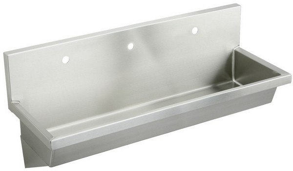 Elkay EWMA60203 60 L x 20 W x 8 D Wall Hung Multiple Station Hand Wash Sink, 3 Faucet Holes